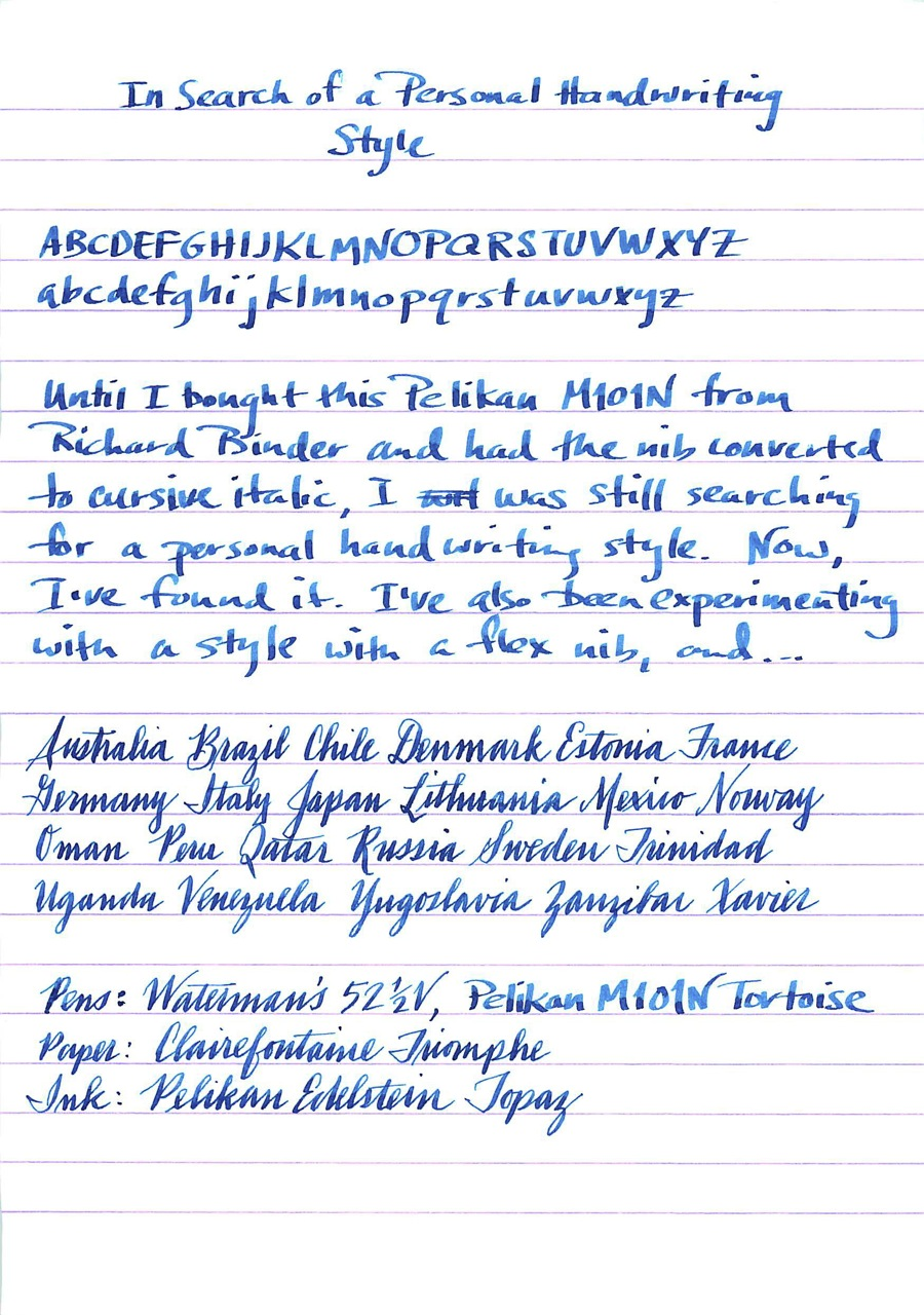 In Search Of A Personal Handwriting Style